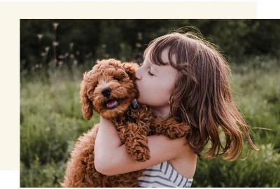 Child Kissing & Playing with Dog