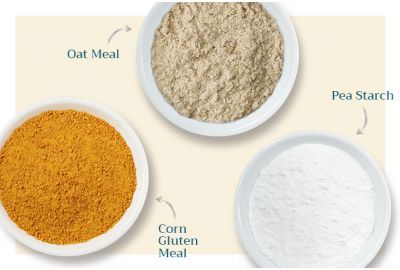 Oat meal, pea starch, and corn gluten meal in bowls