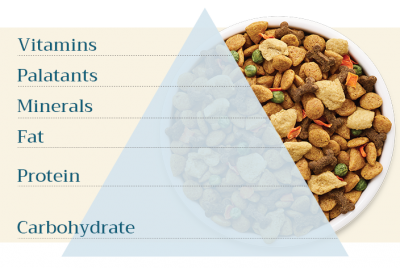Vitamins, palatants, minerals, fat, protein, and carbohydrates are all macronutrients included in the dog food pyramid.
