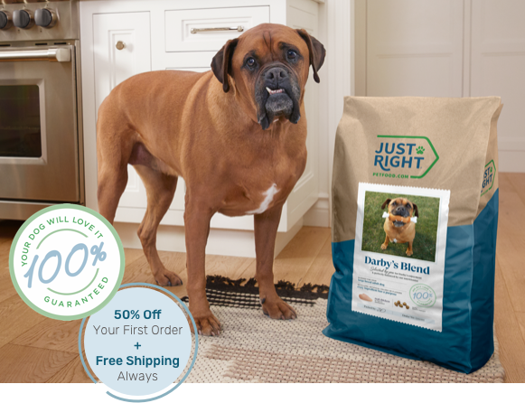 Dog standing next to Just Right dog food bag