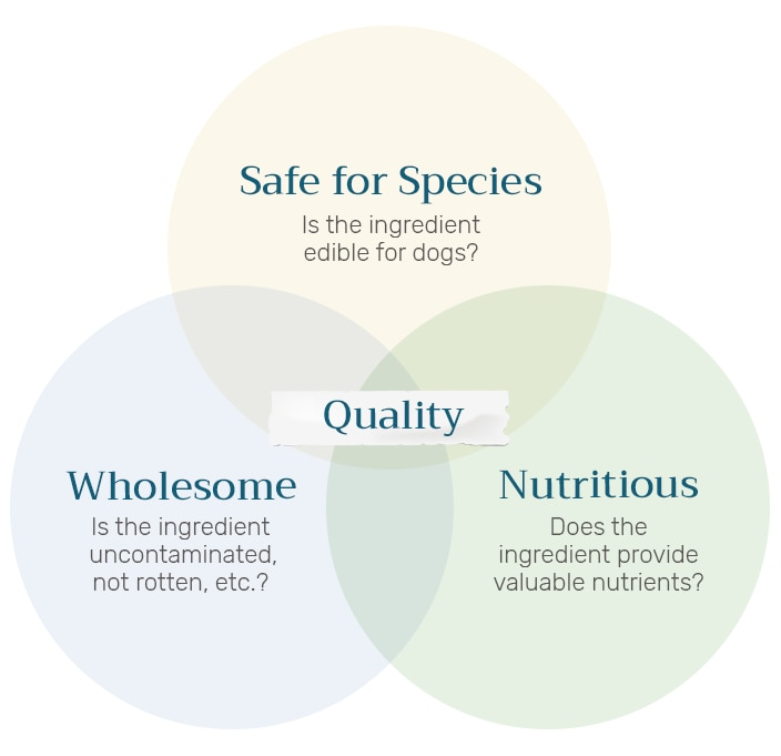 Detailed chart showing that quality ingredients should be safe for species, wholesome and nutritious